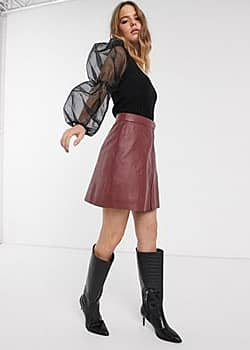 Y.A.S zip front leather mini skirt in burgundy-Red