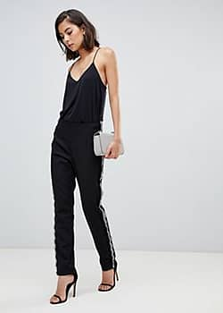 Zibi London tailored trouser with studded detail-Black